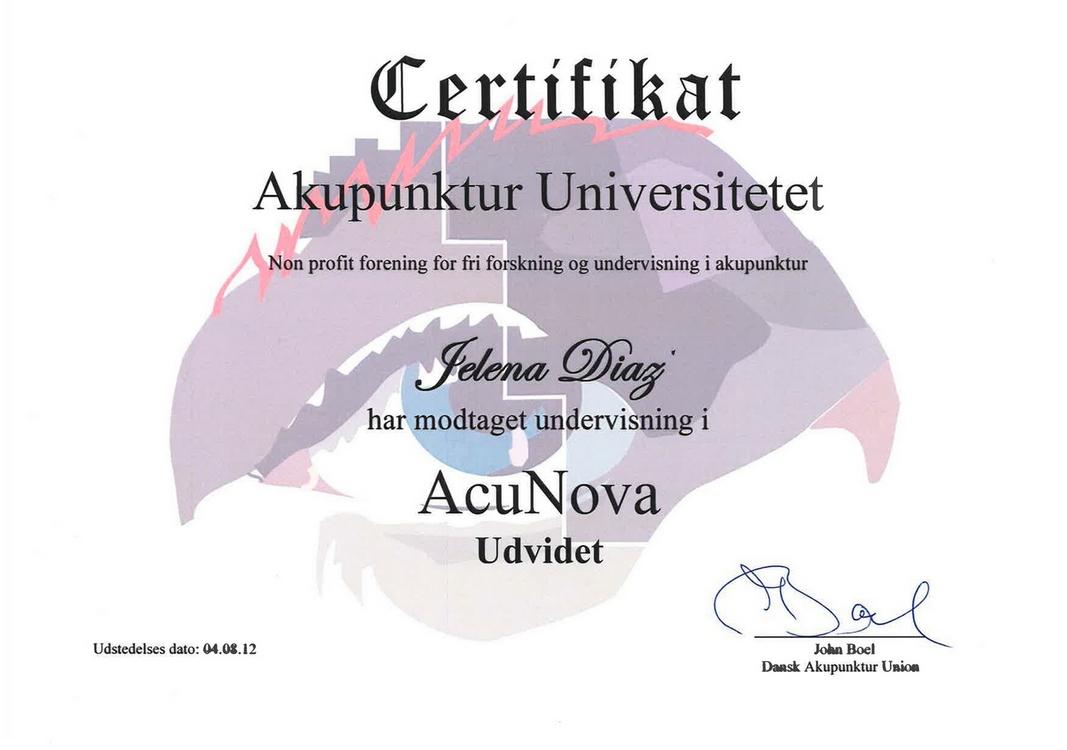 Сертификат Елены Диаз AcuNova Udvidet