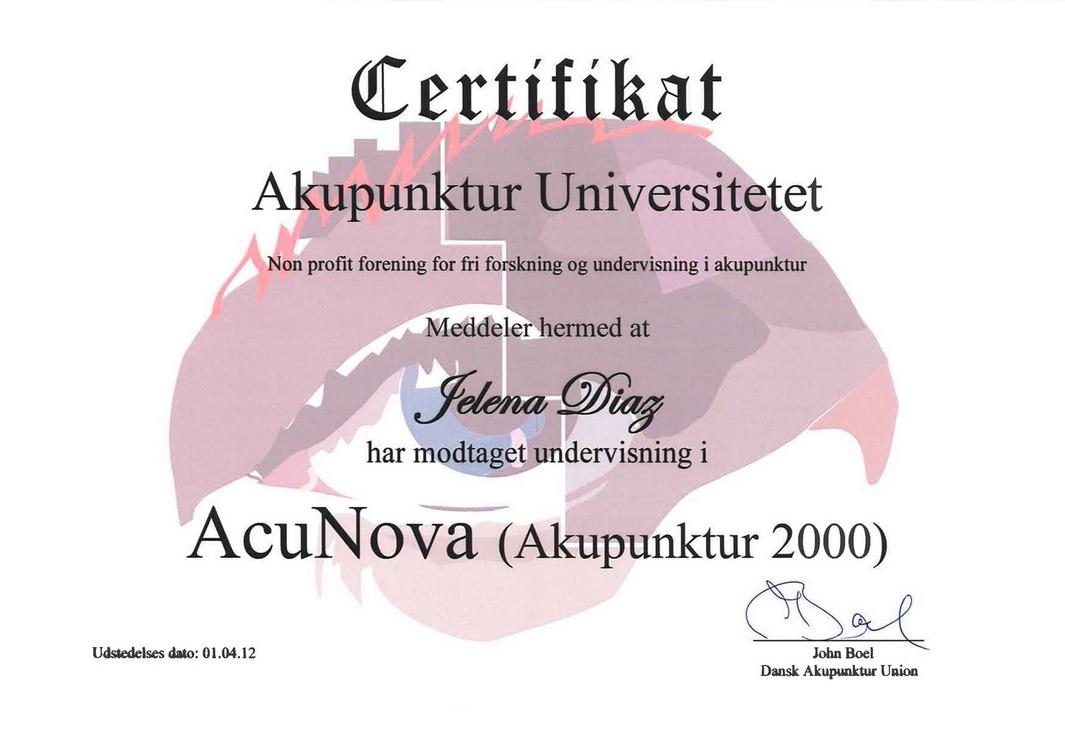 Сертификат Елены Диаз AcuNova